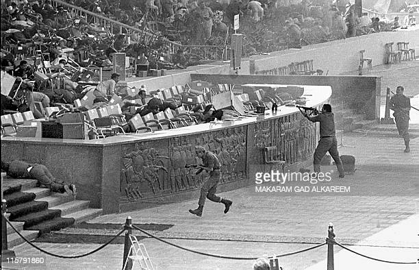 Egyptian soldiers fire on Egyptian President Anwar Al-Sadat while reviewing a military parade in honor of The October 1973 War, on October 06, 1981...