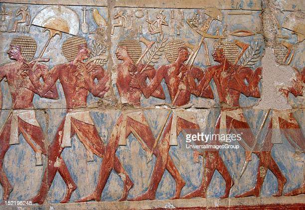Egyptian soldiers in the expedition to the Land of Punt Temple of Hatshepsut C 1490 bC18th Dynasty New Kingdom Deir elBahari Egypt