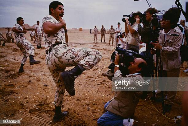 Egyptian soldiers of the InterArab Force during karate training in Saudi Arabia at the start of the Gulf War 1990