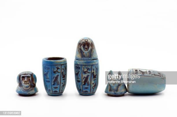 egyptian souvenir canopic jars - arqueología fotografías e imágenes de stock