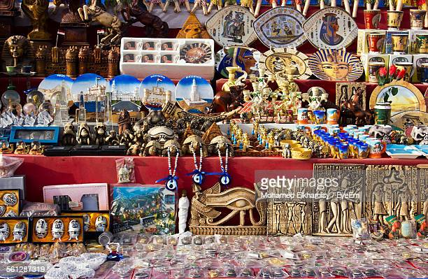 egyptian souvenirs for sale at market - egyptian artifacts stock pictures, royalty-free photos & images