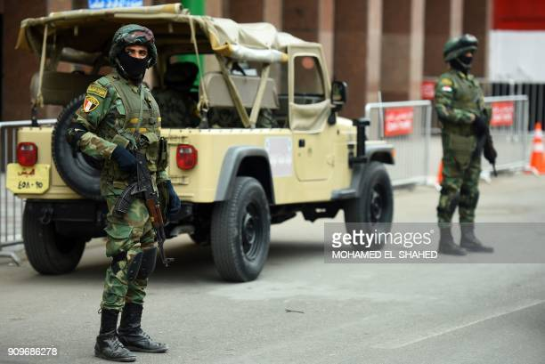 Egyptian special forces stand guard in front of the National Election Authority in Cairo on January 24 2018 Egyptian leader Abdel Fattah alSisi...