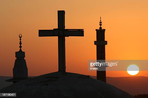 egyptian sunrise with cross and crescents - christianity stock pictures, royalty-free photos & images