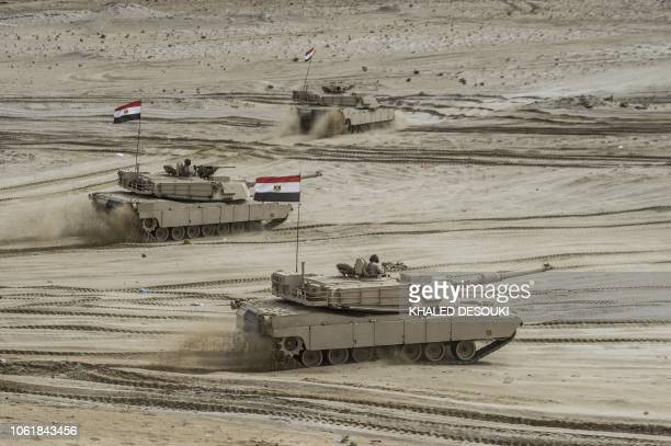 Egyptian tanks take part in the Arab Shield joint military exercises at Mohamed Naguib military base in ElHamam near the Mediterranean coast about...