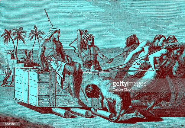 Egyptian taskmasters treat the Hebrew slaves harshly with hard labour and whips Exodus chapter V Pharaoh said 'Let there more work be laid upon the...