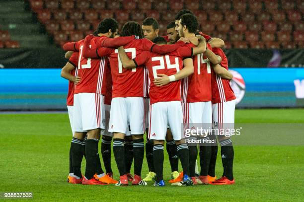 Egyptian team before the kick off makes a circle during the International Friendly between Egypt and Greece at the Letzigrund Stadium on March 27...