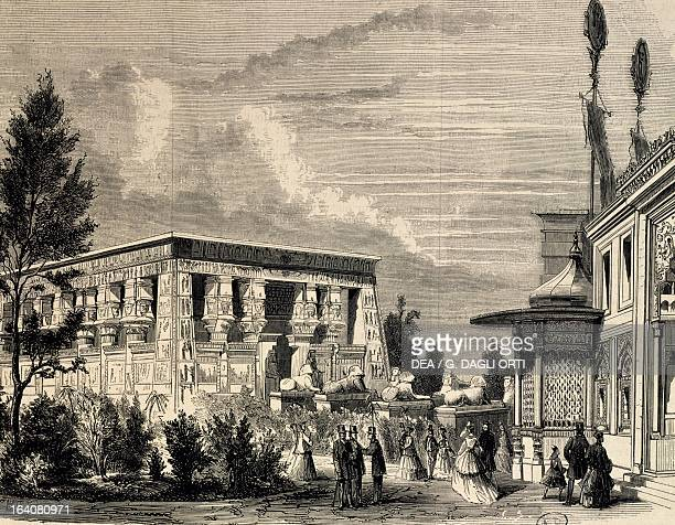 Egyptian temple World Expo in Paris engraving France 19th century