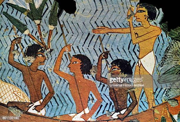 Egyptian tomb wall painting from Thebes, Luxor. Dated 11th Century BC.
