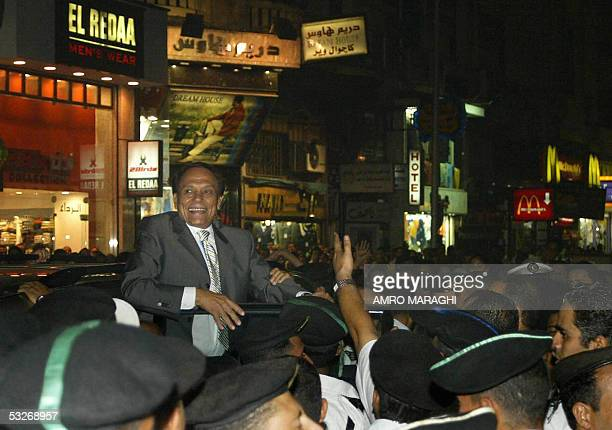 Egyptian top comedian Adel Imam arrives at the premier of his new movie 'ElSafarah fi ElAmarah' late 19 July 2005 in Cairo AFP PHOTO/AMRO MARAGHI
