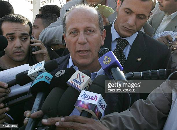 Egyptian Tourism Minister Ahmed alMaghrabi talks to the press 08 October 2004 near the resort of Taba on the Red Sea coast of Egypt's Sinai desert...
