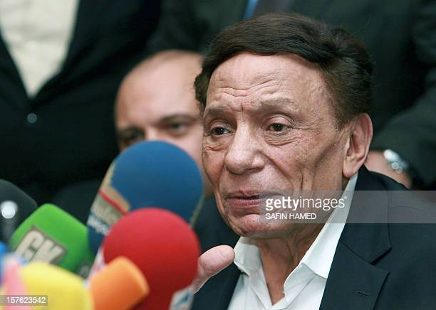 Egyptian veteran comedian Adel Imam 72yearsold speaks during a press conference in the northern Iraqi Kurdish city of Arbil on December 5 2012 AFP...