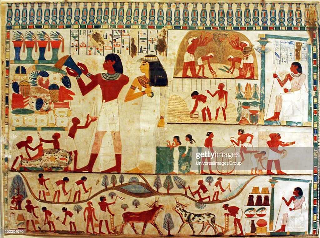 Genial Egyptian Wall Paintings From New Kingdom, Facsimiles Of Ancient Egyptian  Wall Decoration. They Are