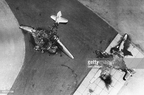 Egyptian warplanes lie destroyed on the tarmac after an Israeli Air Force preemptive strike June 5 1967 against Egyptian airfields at the start of...