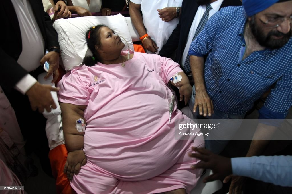 Egyptian woman Emam Ahmed who was undergoing weight-loss surgery... : News Photo