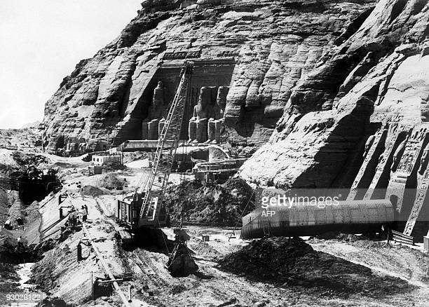 Egyptian workers are dismantling Ramses II statues to be moved to the new site of the twin temples of Abu Simbel on December 24 1964 The Abu Simbel...