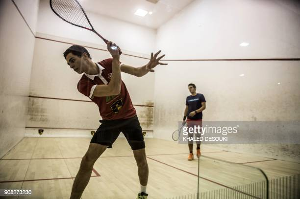 Egyptian world No 3 squash player Ali Farag trains during a session in Wadi Degla sports club in Cairo on January 9 2018 Egyptian squash players are...