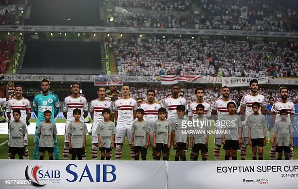 Egyptian Zamalek team's players pose before the Egypt super cup football match between Egypt's AlAhly SC and Zamalek October 15 2015 at Sheik Hazza...
