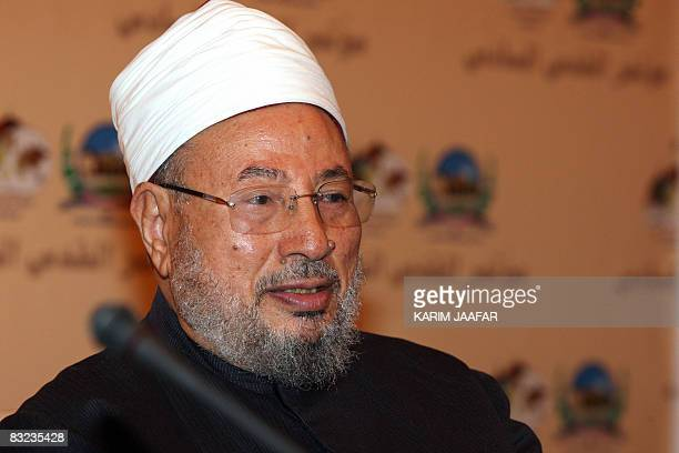 Egyptianborn cleric Sheikh Yusuf alQaradawi attends the sixth annual AlQuds Conference organised by the Jerusalem International Foundation in the...
