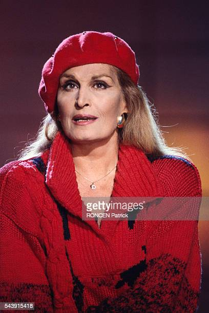Egyptianborn French singer and actress Dalida on the set of the televised pop music show Stars 90
