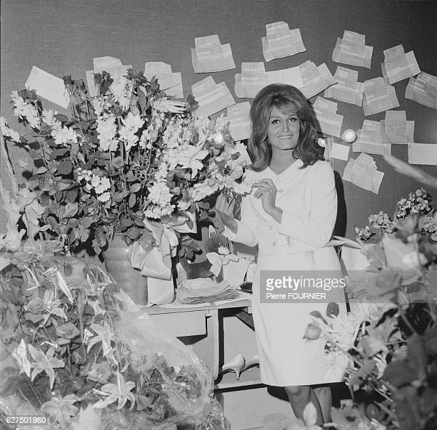 Egyptian-born singer Dalida in her dressing-room at the Olympia concert hall.