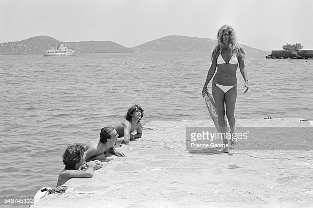 Egyptian-born singer Dalida on holiday in Crete.