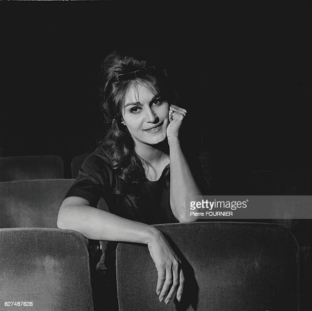 Egyptian-born singer Dalida rehearses and records at the Olypia concert hall.