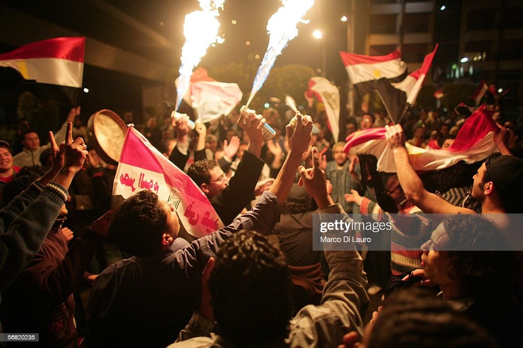 Egyptians Celebrate Victory Over Ivory Coast During Soccer African Cup : News Photo