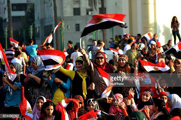 Egyptians celebrate of opening the Suez Canal in Tahrir Square Cairo on 7th August 2015