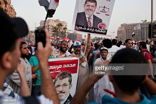 Egyptians celebrate the election of their new president Mohamed Morsi in Tahrir Square on June 24 2012 in Cairo Egypt Official election results today...