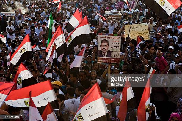 Egyptians during a protest in Tahrir Square after the election of Egypt's new president Mohamed Morsi, on June 25, 2012 in Cairo, Egypt. Supporters...