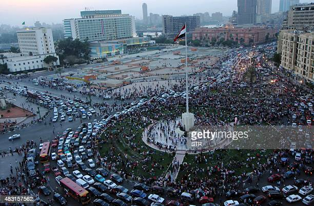 Egyptians gather in Cairo's landmark Tahrir Square during celebrations to unveil a new waterway in the port city of Ismailiya on August 6 2015...