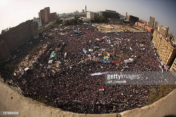 Egyptians gather in their thousands in Tahrir Square to mark the one year anniversary of the revolution on January 25 2012 in Cairo Egypt Tens of...