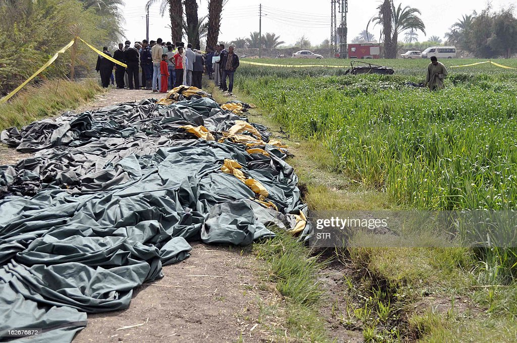 Egyptians inspect the site where a hot air balloon exploded over the ancient temple city of Luxor on February 26, 2013. The hot air balloon caught fire and exploded over Luxor during a sunrise flight, killing up to 19 tourists, including Asians and Europeans, sources said. The balloon carrying 21 people was flying at 300 metres (1,000 feet) when it caught fire, a security official said.