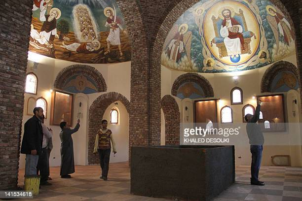 Egyptians on March 18 visit the Bishoy Monastery in Wadi Natrun in the Nile Delta where Pope Shenuda III the spiritual leader of the Middle East's...
