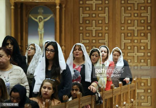 Egyptians Orthodox Copts living in Kuwait attend Christmas mass at the St Mark Coptic Orthodox Church in Kuwait City on January 6 2019