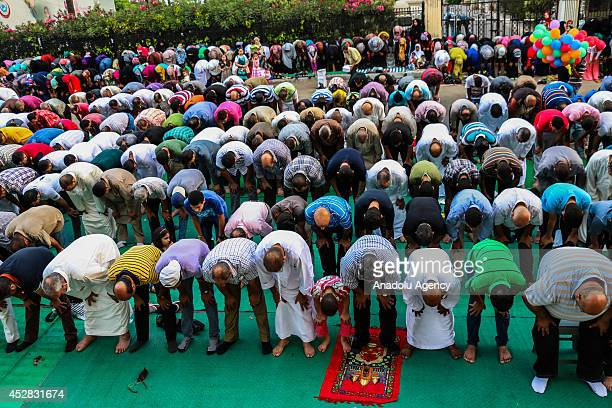 Egyptians perform Eid alFitr prayer at El Qaed Ibrahim Mosque in Alexandria Egypt on July 28 2014