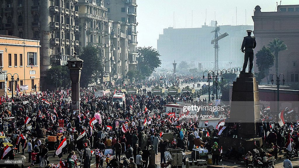3rd anniversary of Egyptian revolution : News Photo