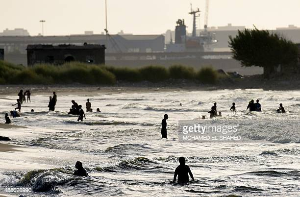 Egyptians swim in the Mediterranean sea on September 12 2015 in the Egyptian port city of Alexandria AFP PHOTO / MOHAMED ELSHAHED