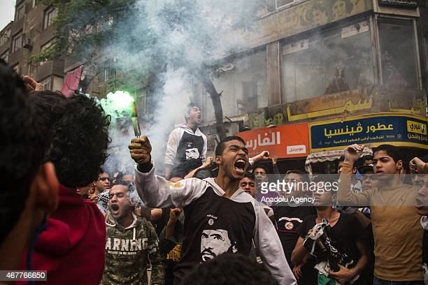 Egyptians who call themselves as 'Anti-Coup demonstrators' march during an anti-government rally in Al Mataria district of Cairo, Egypt on March 27,...