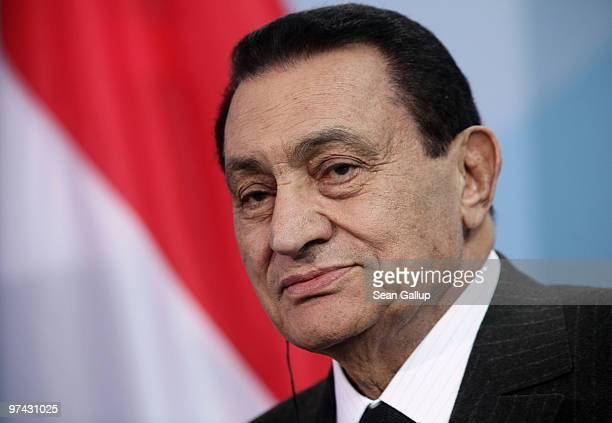 Egyption President Hosni Mubarak speaks to the media following talks with German Chancellor Angela Merkel at the Chancellery on March 4, 2010 in...