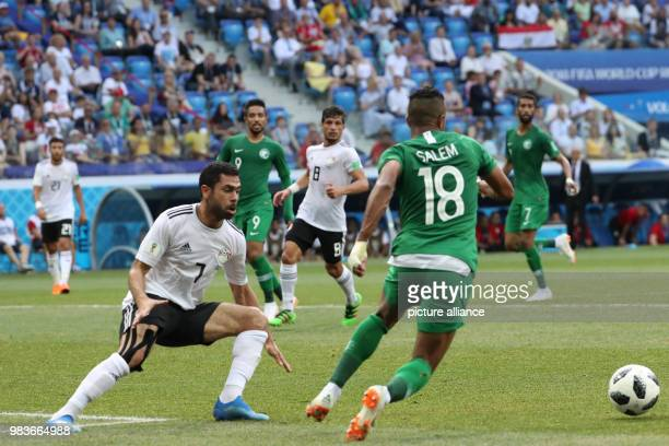 Egypt's Ahmed Fathy battles for the ball with Saudi Arabia's Salem AlDawsari during the FIFA World Cup 2018 Group A soccer match between Saudi Arabia...