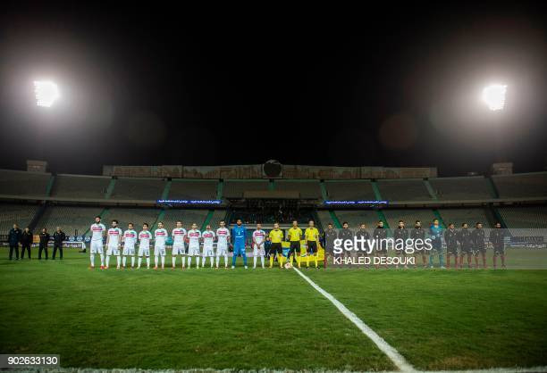 Egypts AlAhly and Zamalek clubs pose for a photo prior to the Egyptian Premier League football match between AlAhly and Zamalek at the Cairo Stadium...