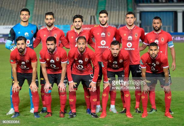 Egypts AlAhly club first eleven pose for a team photo prior to the Egyptian Premier League football match between AlAhly and Zamalek at the Cairo...