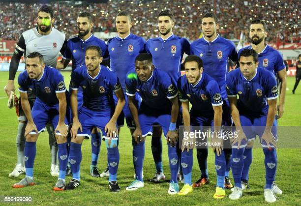Egypt's AlAhly first eleven pose for a team photo prior to the start of the CAF Champions League semifinal football match between Etoile Sahel and...