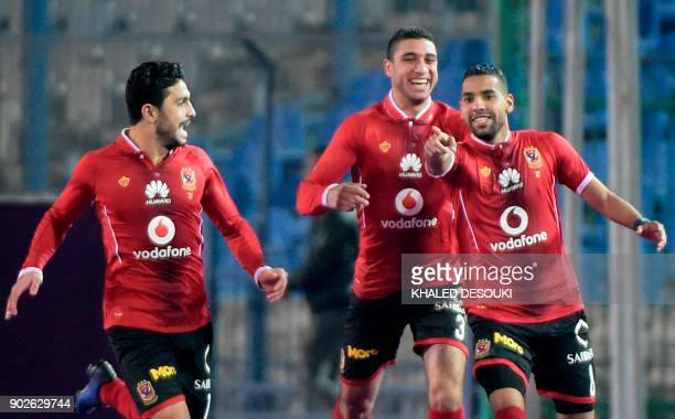 Egypts alAhly player Momen Zakaria celebrates with his teammates after scoring a goal during the Egyptian Premier League football match between...
