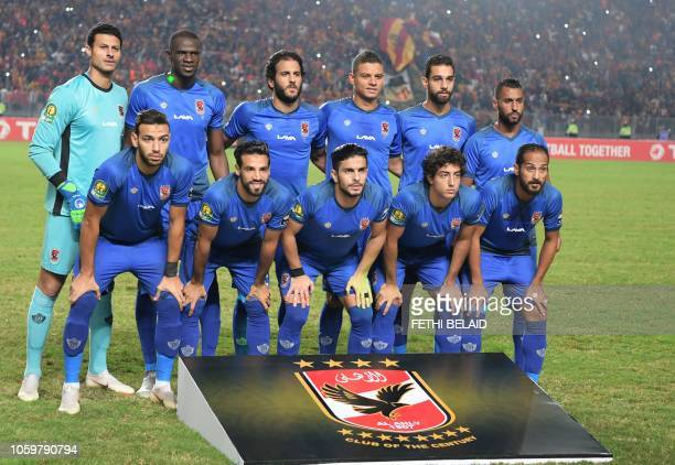Egypt's AlAhly team poses during the CAF Champions League second leg final football match between Egypt's alAhly and Tunisia's ES Tunis at the...