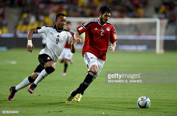 Egypt's Ali Gabr vies for the ball against Ghana's Jordan Ayew during the 2018 World Cup qualifying Group E football match between Egypt and Ghana at...