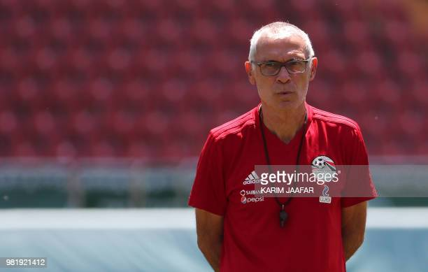 Egypt's Argentine coach Hector Raul Cuper looks at his players during a training session at the Akhmat Arena stadium in Grozny on June 23, 2018.