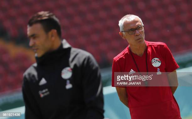 Egypt's Argentine coach Hector Raul Cuper looks at his players during a training session at the Akhmat Arena stadium in Grozny on June 23 2018