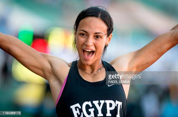 Egypt's Basant Hemida reacts after finishing the 100m Women's Final at the 12th edition of the African Games on August 26 2019 in Rabat